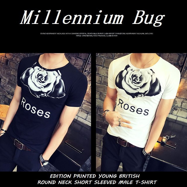 【Millennium Bug】バラ柄半袖 メンズTシャツ / EDITION PRINTED YOUNG BRITISH ROUND NECK SHORT SLEEVED MALE T-SHIRT (WCN-1530425394)
