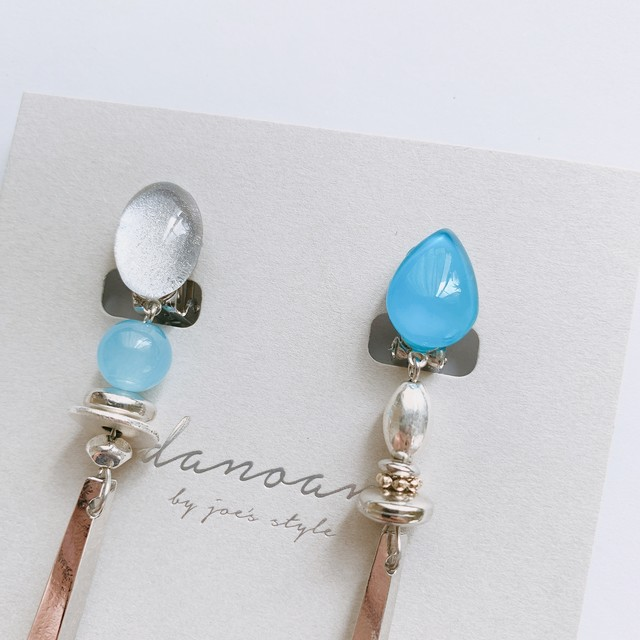 """"""" Earrings NO.danoan-4″ ペイントシルバーアシメ"""