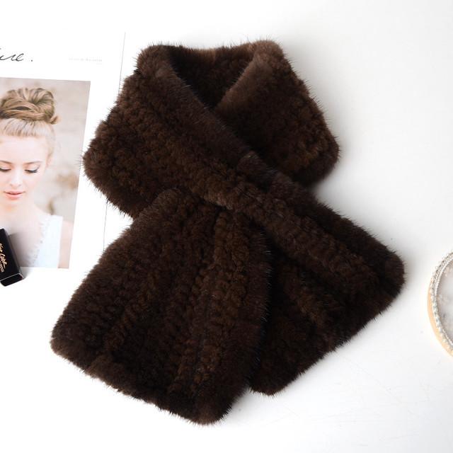 ミンク 毛編みマフラー