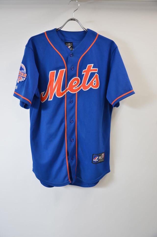 【Mサイズ寸】MAJESTIC マジェスティック BB SHIRT METS ベースボールシャツ メッツ #33 COOLBASE RL ロイヤル 400601190619