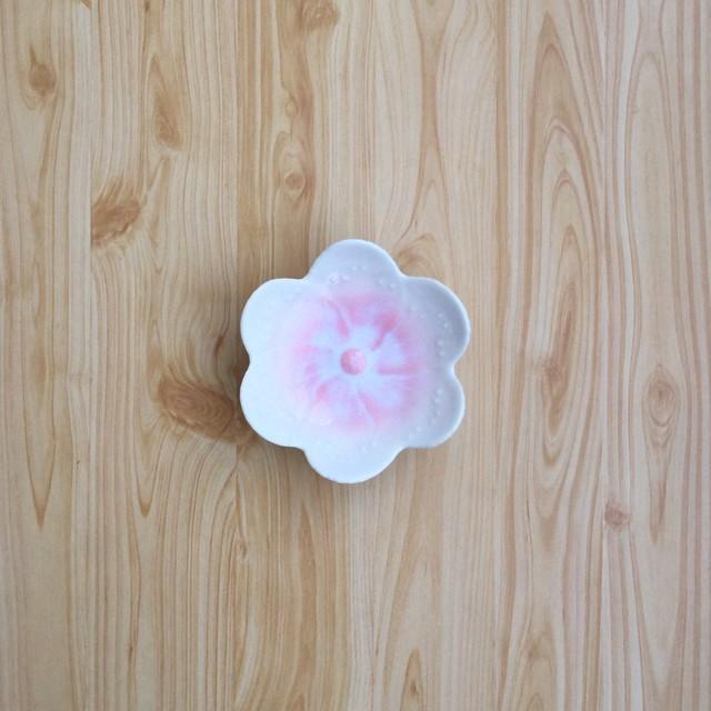 【有田焼】ピンク結晶 花型小皿