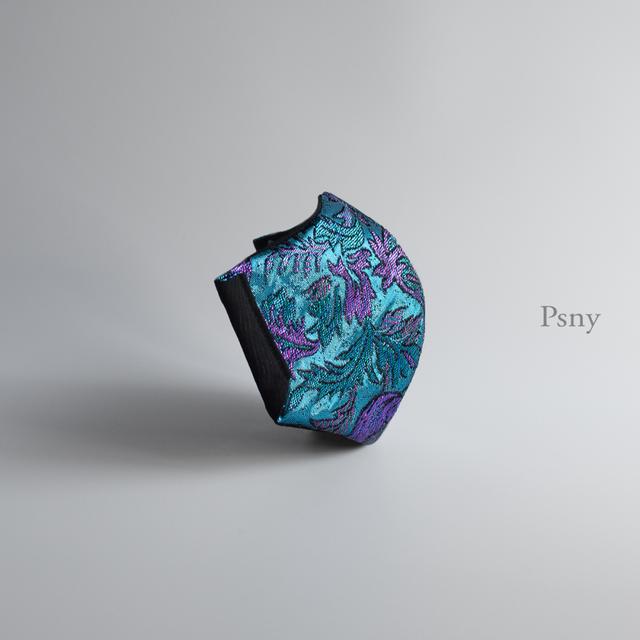 PSNY ラクスシャルキ・バイオレット・ブルーの光沢マスク 肌全面シルク 不織布フィルター入り 美しい 華やか 豪華 高級 舞台 衣装 美人 おとな ますく エレガントなオリエンタル模様 --RS05