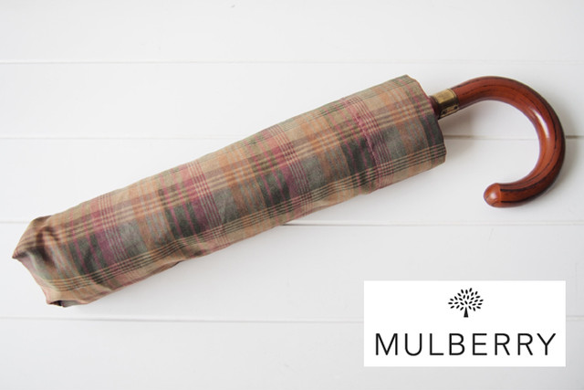 【Sold Out】【中古】マルベリー|MULBERRY|タータンチェック柄折り畳み傘