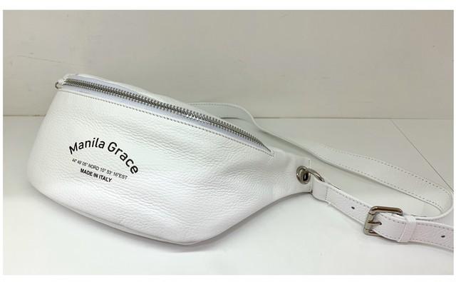 Manila grace マニラグレース ボディバッグ ウェストポーチ メイドインイタリー 白いバッグ
