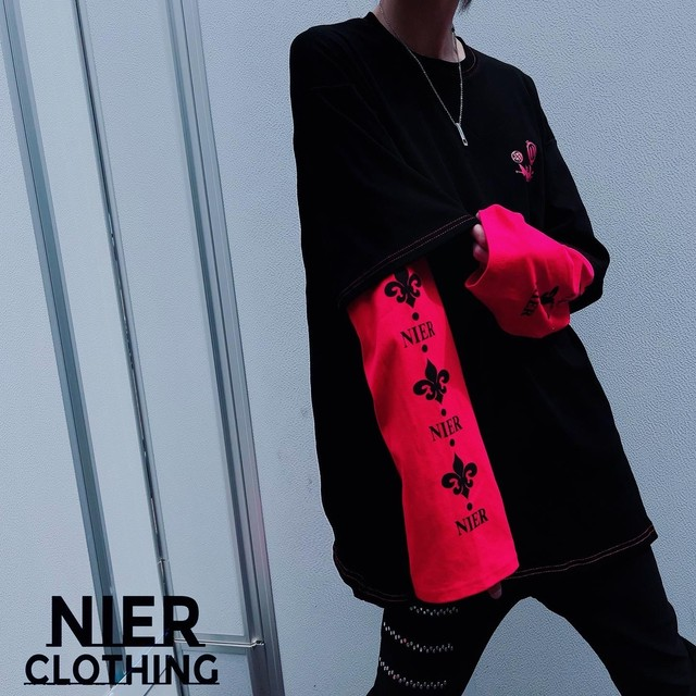 OVERSIZE FAKE LAYERED CUTSEW【RED×BLACK】
