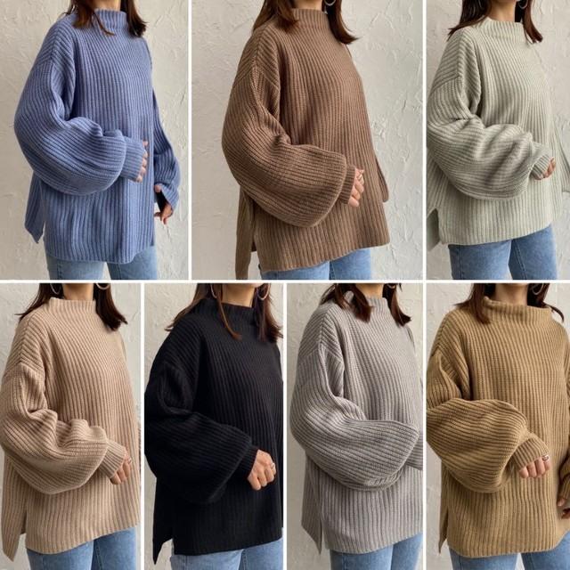 ◆即納◆バルーンスリーブ ボトルネック ざっくり編み ニット セーター