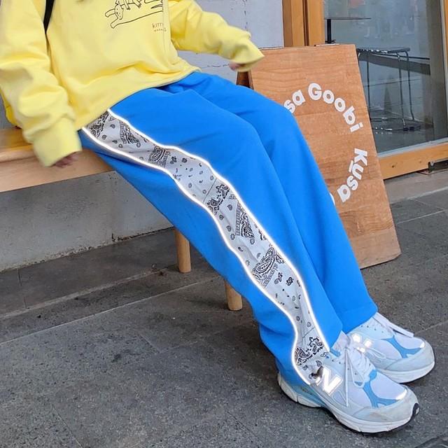 【ボトムス】カジュアル配色ハイウエストレギュラー丈カジュアルパンツ35558601