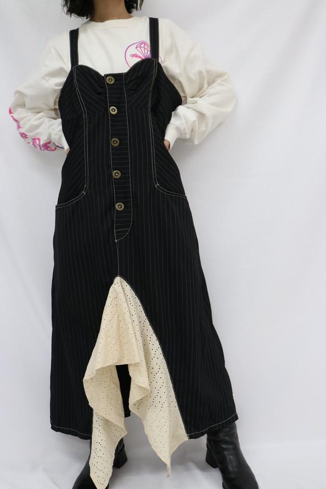 stripe design jumper skirt / 5SSOP02-05