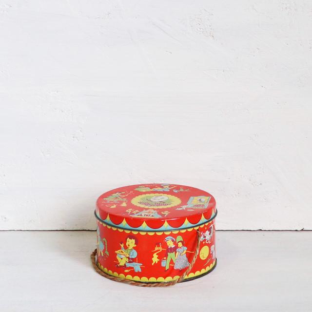 【C-14】ウィルキン社 赤いドラム型トフィー缶 1920年