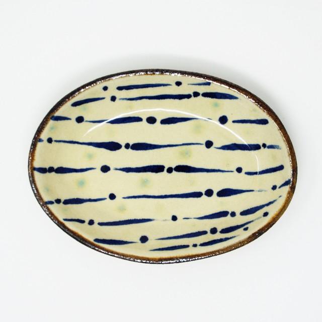 エドメ陶房 川上真悟 オーバル皿 ストライプ青 やちむん
