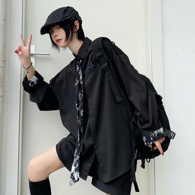 【トップス】カジュアル長袖シングルブレストPOLOネックネクタイ付きシャツ25968302