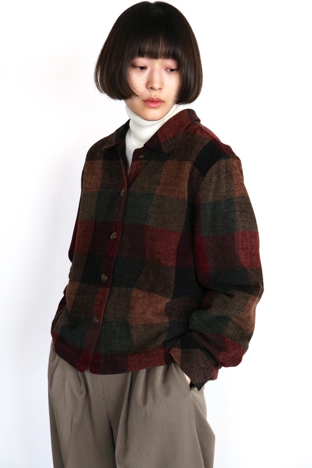 Vintage brown check cropped jacket