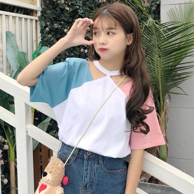 【トップス】半袖ファッションプルオーバーTシャツ27011674