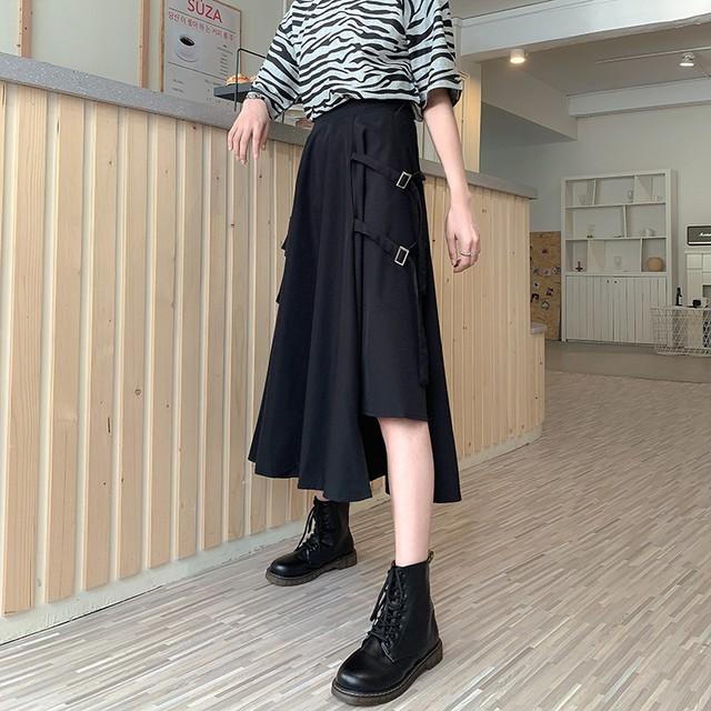 【ボトムス】カジュアル個性的シンプルストリート系ベルト不規則スカート42259863