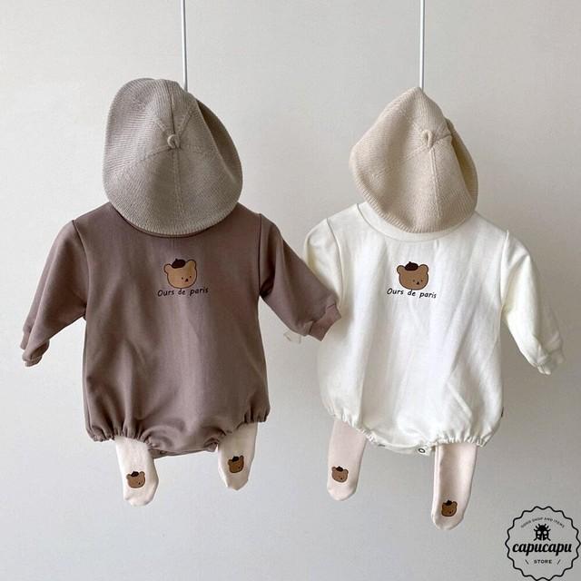 «予約»«bebe» bear babysuit 2colors くま ベビーボディスーツ