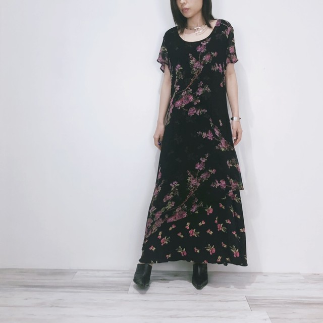 ◼︎90s sheer flower rayon dress from U.S.A.◼︎