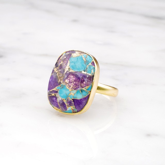 SINGLE BIG STONE RING GOLD 112