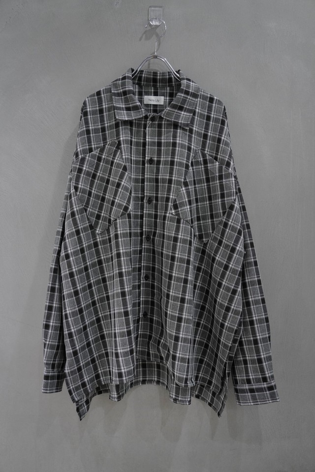 Nora Lily over size  L/S shirt  Black×gry check
