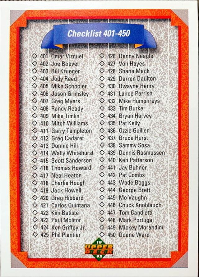 MLBカード 92UPPERDECK CHECKLIST #401-#500
