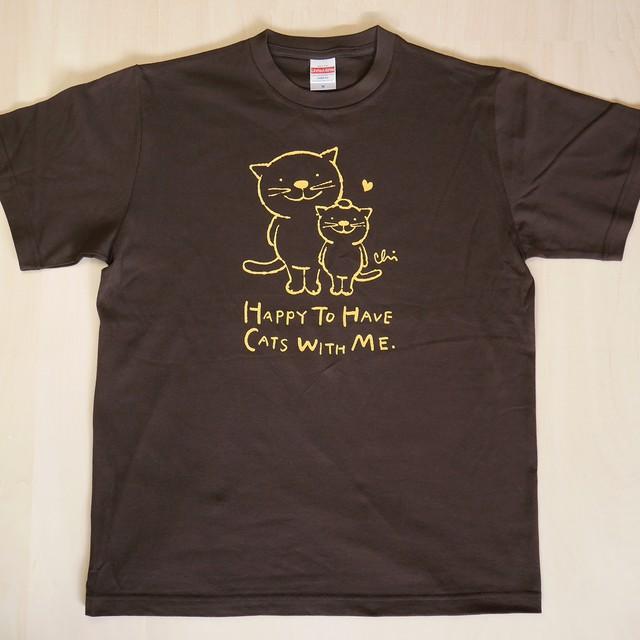 にゃんきーとすTシャツ「ねこがいてよかった」ダークチョコレート×イエロー
