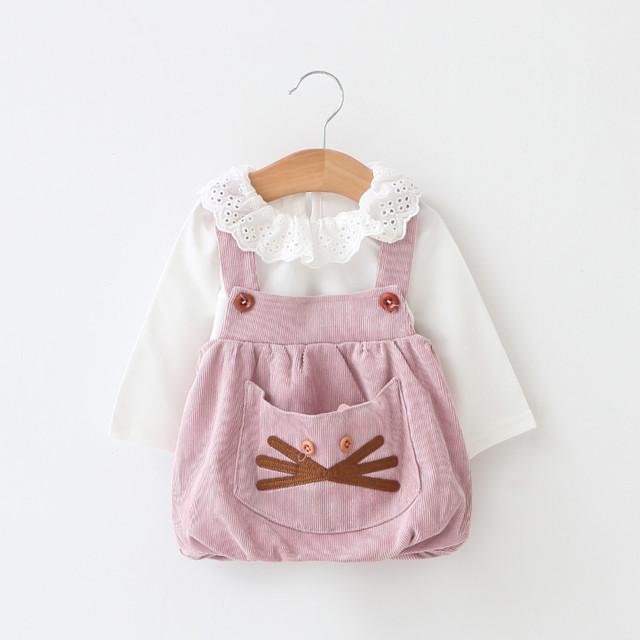 【子供服】定番スウェットフリルネックコットン簡単プリントワンピース20537172