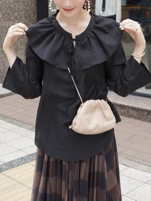 【予約】frill collar blouse / black (8月上旬発送予定)