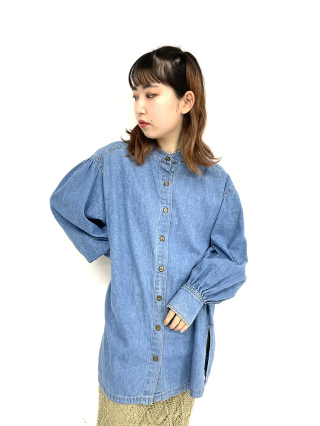 stand collar yoke denim shirt / 3SSTP05-05