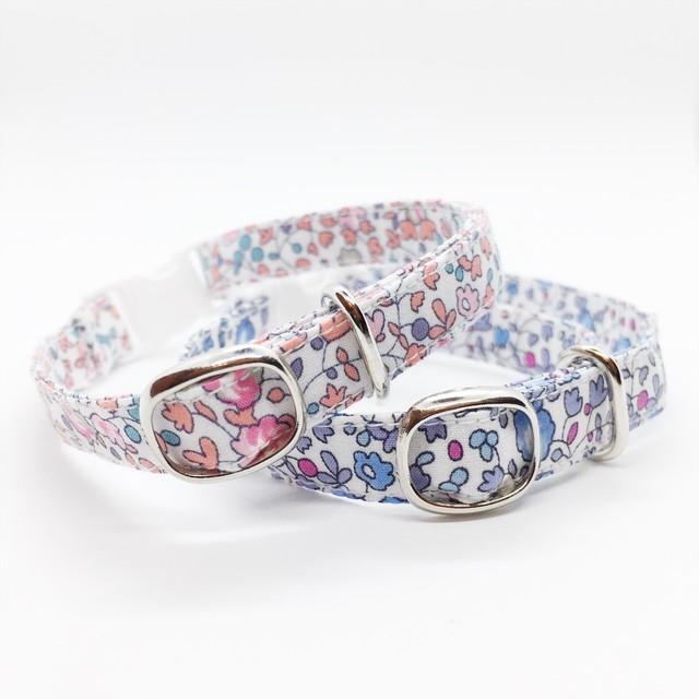 猫 首輪 ピンク ブルー 花柄 リバティプリント×Eloise