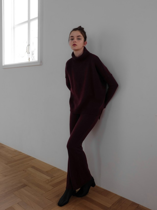 knit flare pants(cassis)