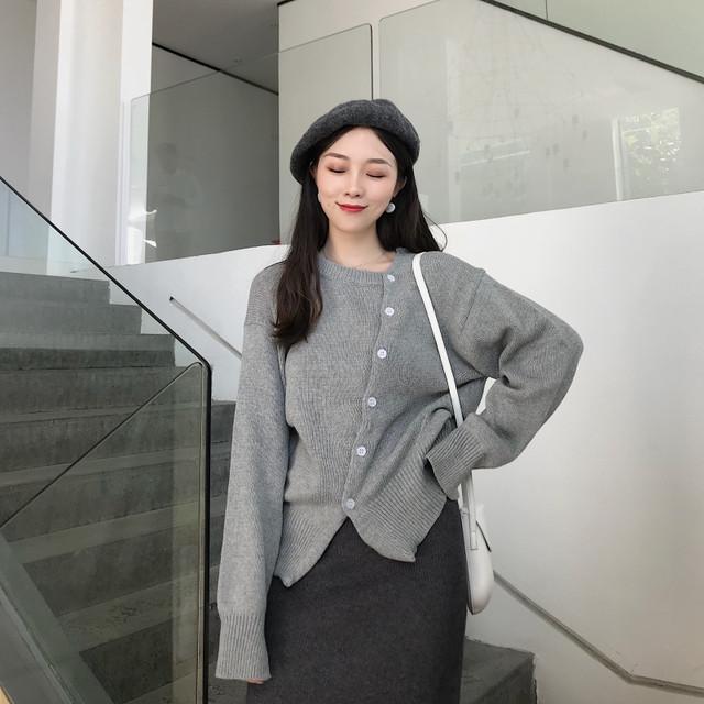 個性ファッション アンバランス デザイン ニット 大人女子コーデ◎ fsk0106