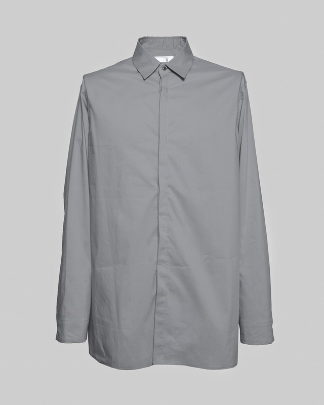 T/f typewriter fly front shirt - soot