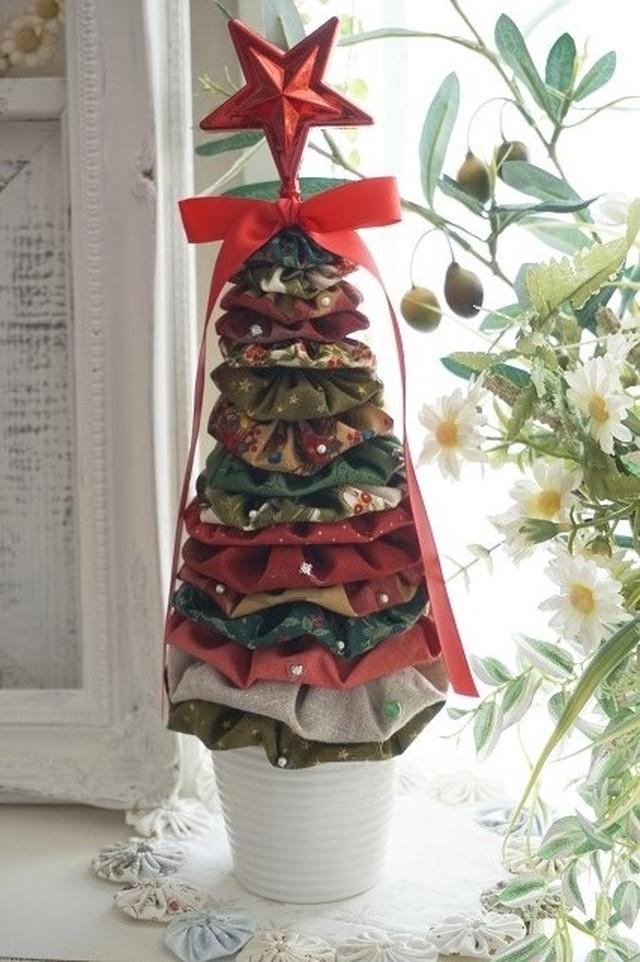 ★可愛いヨーヨーキルトで作るクリスマスツリー★王道の赤緑C
