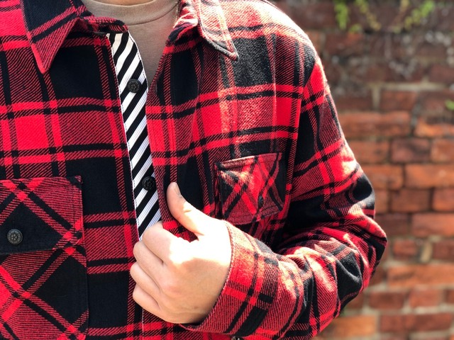 OFF-WHITE FLANNEL CHECK SHIRT XL RED 160JD5843