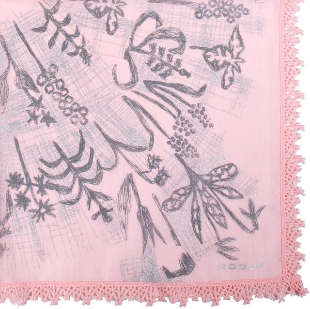 ひびのこづえ ハンカチ 草花 / ピンク レース付き 48x48cm KH12-01