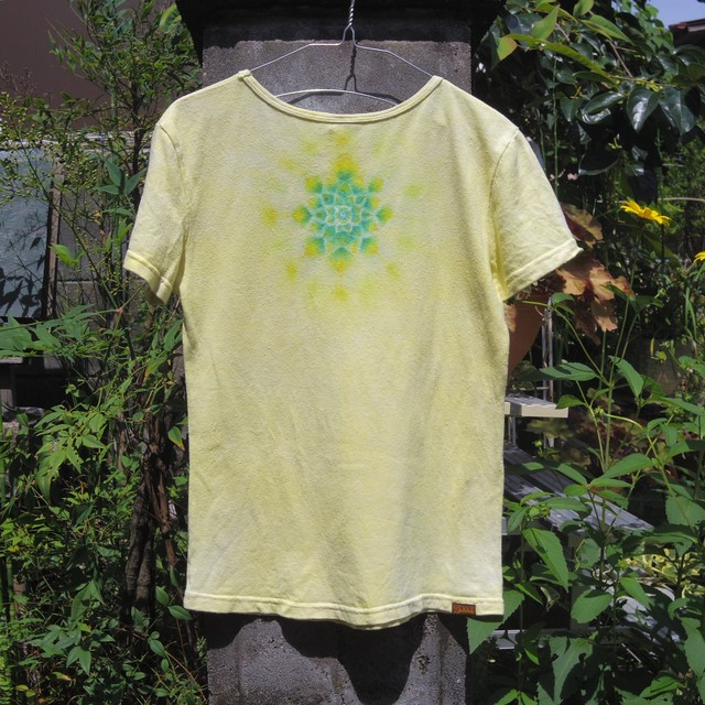 TKHOME FACTORY 曼荼羅染め ヘンプコットンTシャツ レディース yellow