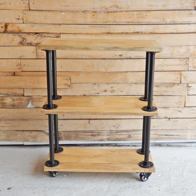 TOPANGA Furniture マンゴーウッド&アイアンパイプ キャスター付き3段ラック