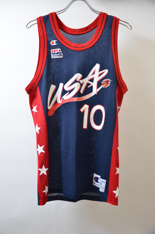 【Mサイズ寸】CHAMPION チャンピオンNBA TANKTOP USA DREAMTEAM#10 エヌビーエー ドリームチーム バスケジャージー NV 400608190651