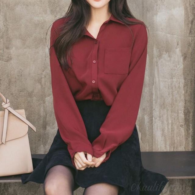 【トップス】韓国系長袖シングルブレストPOLOネックシャツ50306217