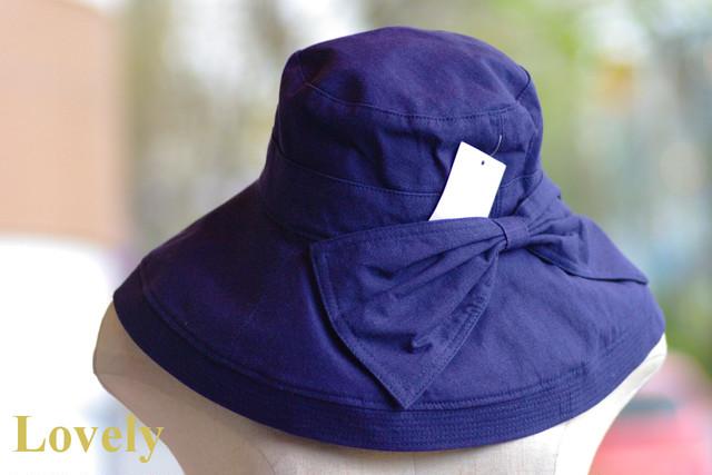 【帽子】UVケア おリボンお帽子・ネイビー