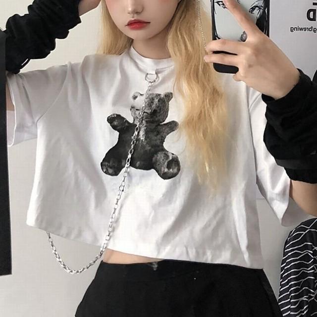クロップTシャツ 半袖 くまちゃんプリント チェーン ラウンドネック 韓国ファッション レディース Tシャツ 半袖Tシャツ ショート丈 カジュアル ストリートファッション (DTC-614820219090)
