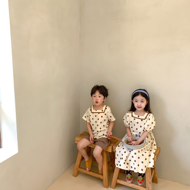 一番人気!【先行予約】ドット柄ワンピース セットアップ 兄妹 おそろい SS 春夏 韓国子供服