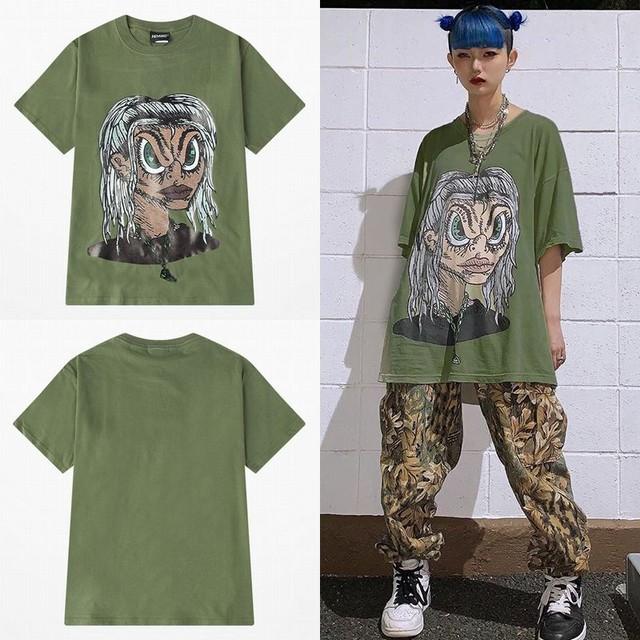 ユニセックス 半袖 Tシャツ メンズ レディース イラスト風 顔 プリント オーバーサイズ 大きいサイズ ルーズ ストリート TBN-613758205282