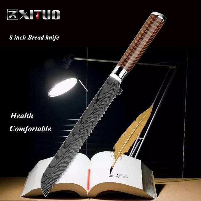 XITUO  パン切り包丁 刃渡り 22cm  7cr17  ks20082404
