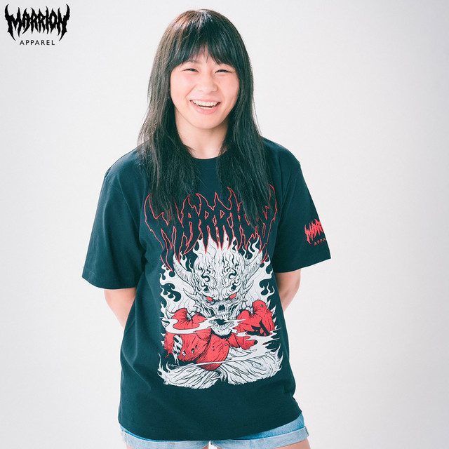 【Cotton100%】SKULL PUNCH TEE (Black×Red)