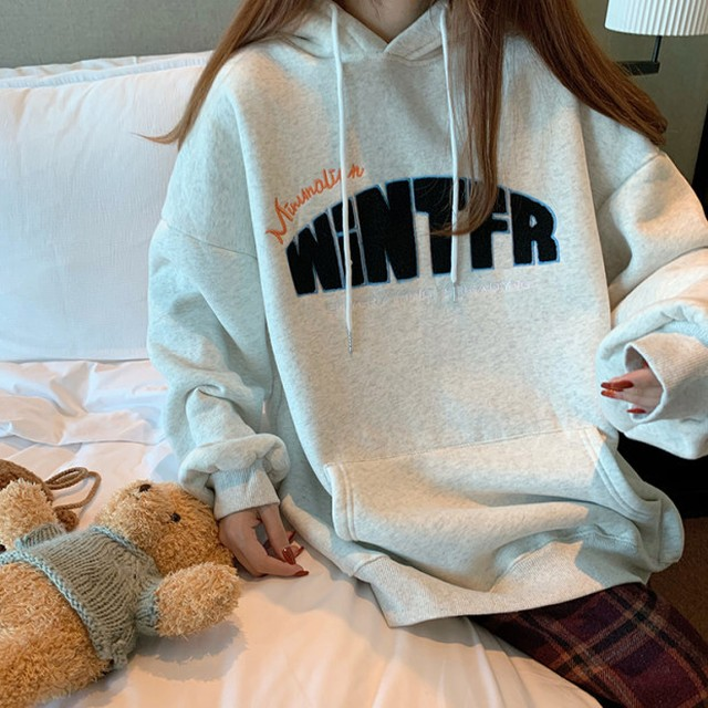 front boa letter hoodie PD2382
