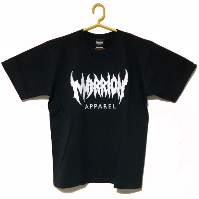 MARRION APPAREL LOGO T-shirts  (Black×White)