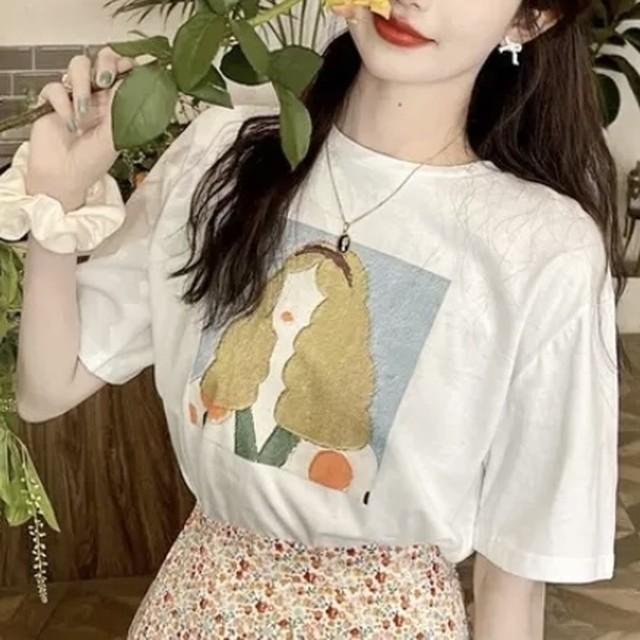 Tシャツ レトロ プリント デザイン 2色 B7420