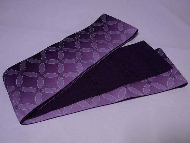 【mo-19】 リバーシブル半幅帯 訳あり品 紫色に七宝柄 紫色に桜柄
