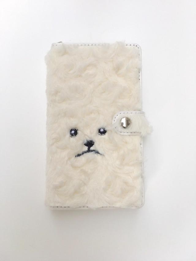 巻き毛トイプードル手帳マルチスマホケース クリーム