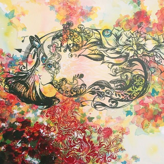 絵画 絵 ピクチャー 縁起画 モダン シェアハウス アートパネル アート art 14cm×14cm 一人暮らし 送料無料 インテリア 雑貨 壁掛け 置物 おしゃれ 花 はな ハナ フラワー 現代アート 植物 ロココロ 画家 : SORA 作品 : 植物界の日常